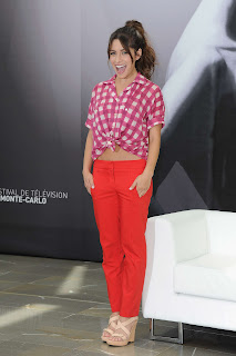 Sarah Shahi red outfit photocall in Monaco