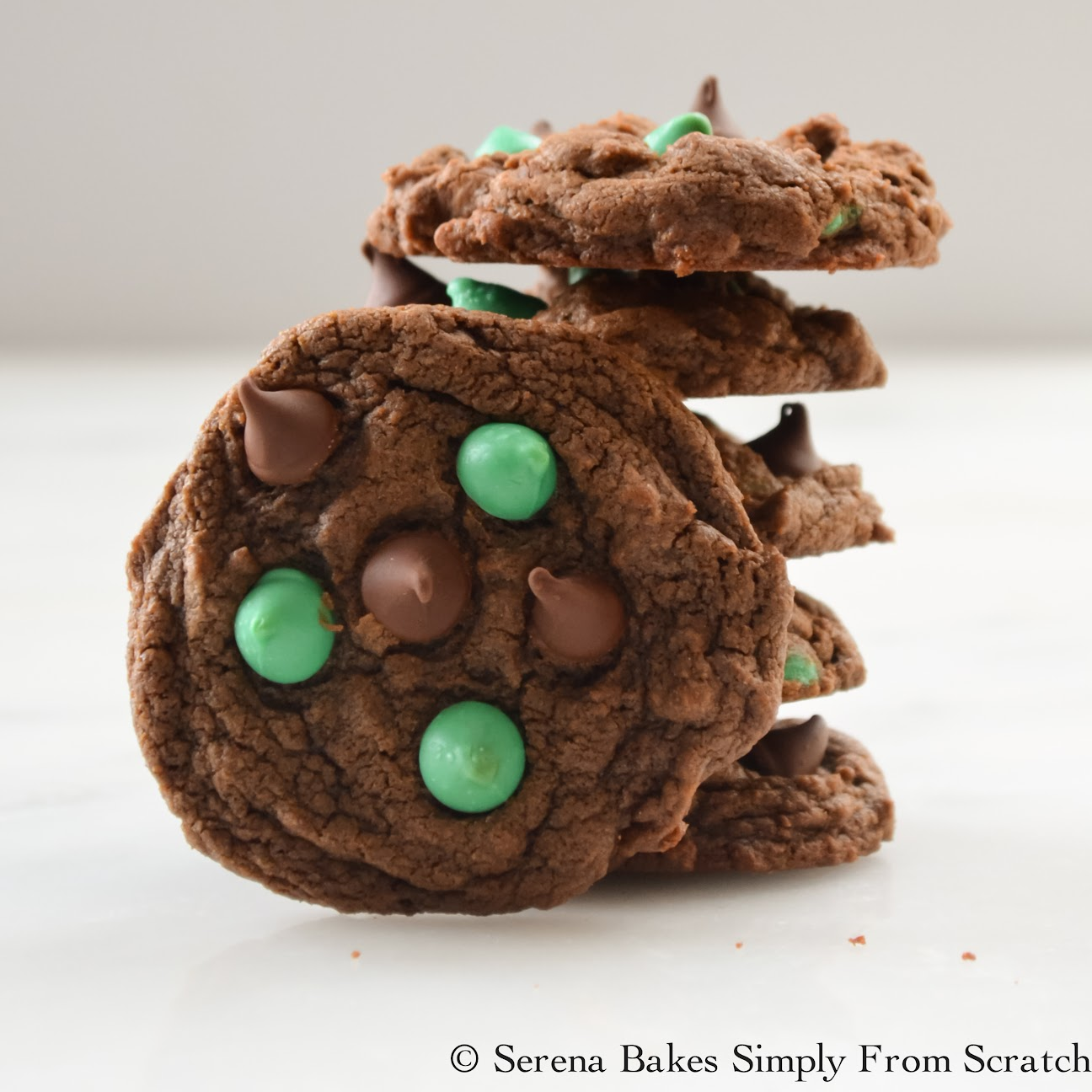 Double Chocolate Mint Chip Cookies - Serena Bakes Simply From Scratch