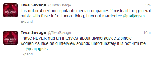 Tiwa Savage Denies Marital Status Interview With Naijagist Viw Twitter