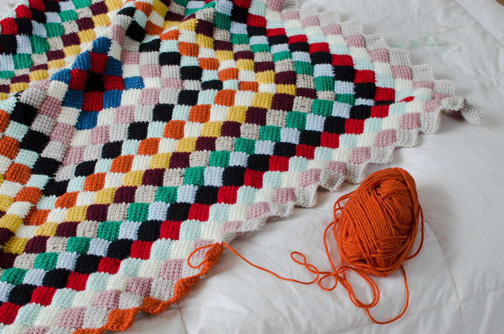 new crochet blanket and discovered i loove doing entrelac crochet ...