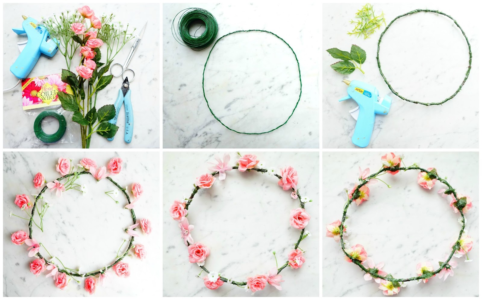 Do or diy four floral hair accessories bunny fawn you want your circle to be slightly loose your head because putting flowers and leaves on it will make the circle smaller izmirmasajfo