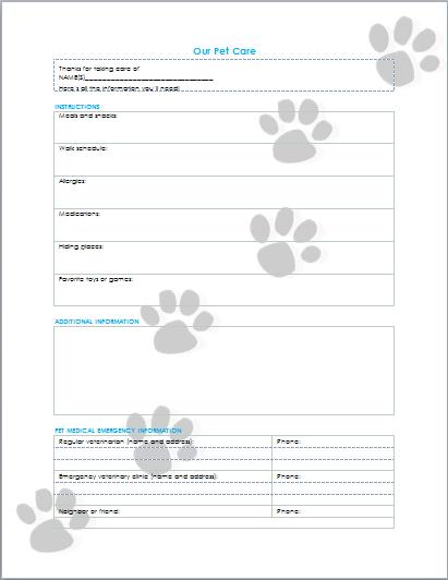 pet care information printable