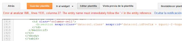 ¿Solución error de análisis en el XML de la plantilla de Blogger? Error al analizar XML (  > )