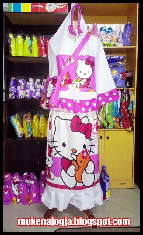 Mukena Anak Karakter Hello Kitty Dot