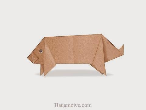 Cách gấp, xếp con lợn bằng giấy origami - Video hướng dẫn xếp hình - How to make a Pig