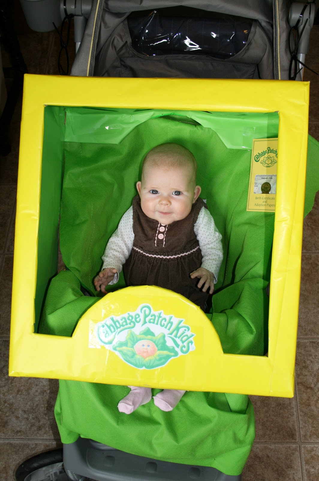 Imperfectly homemade mom by monica cabbage patch box stroller costume for Cabbage patch costumes