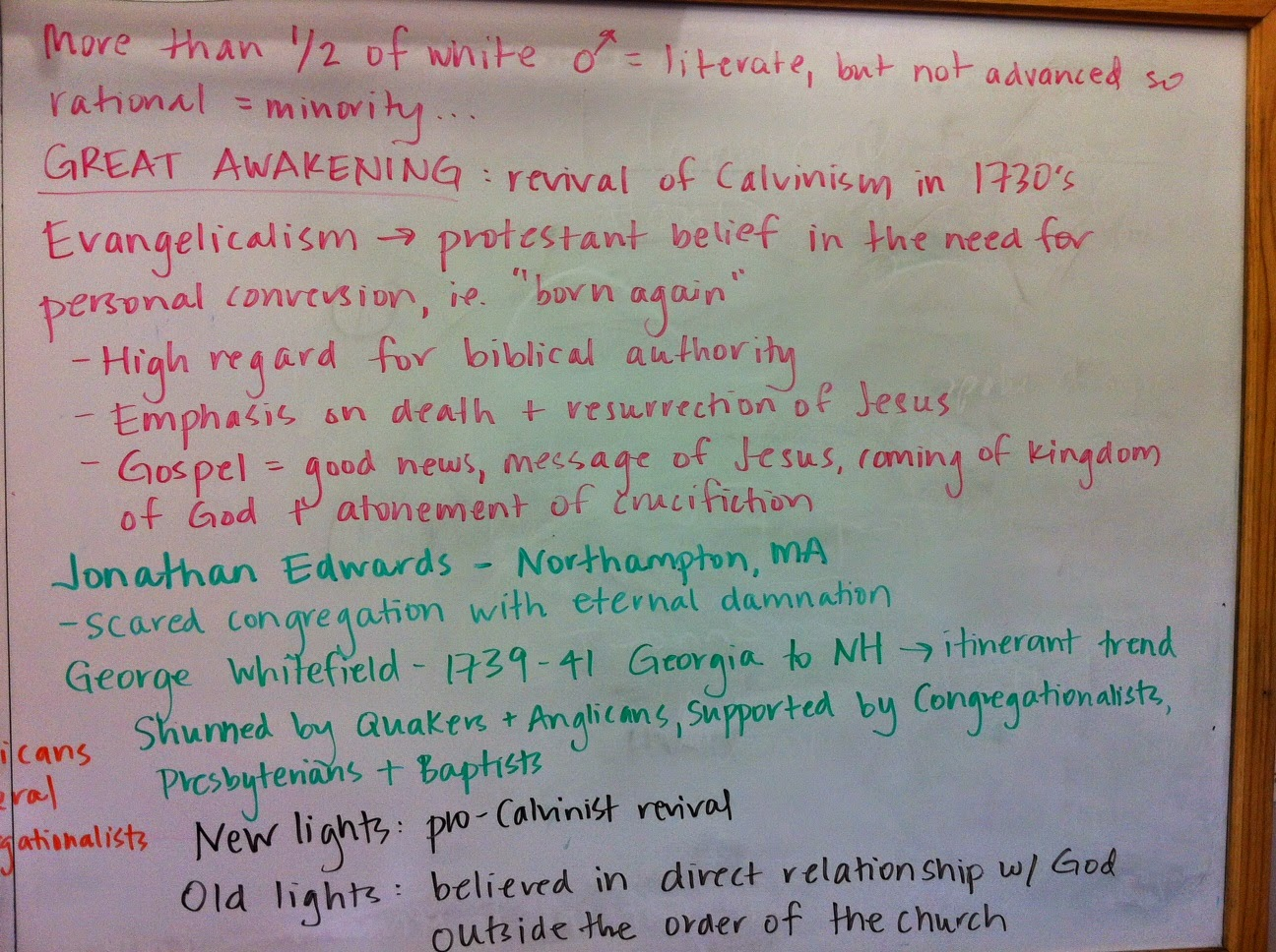 ap united states history 2014 2015 2014 here is the clip we watched on the great awakening in class in addition this the franklin excerpt on george whitefield and the sermon from jonathan