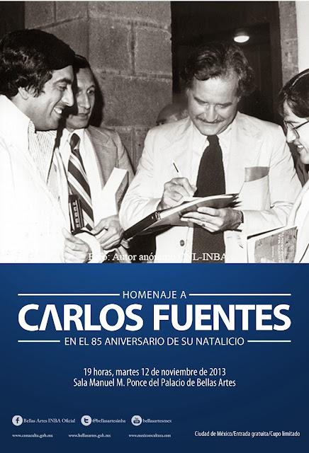 Conmemoran 85 años del nacimiento de Carlos Fuentes en Bellas Artes