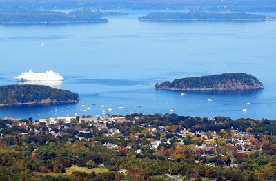 Views of Bar Harbor from Cadillac Mountain in Acadia National Park