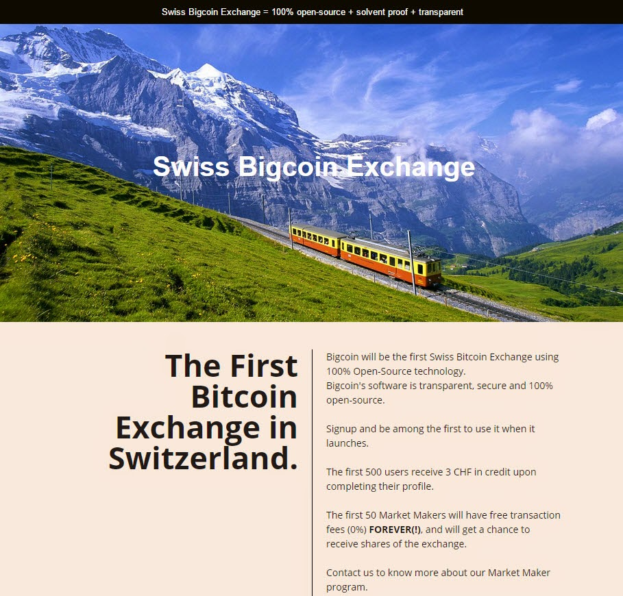 Bigcoin.ch : The First Bitcoin Exchange in Switzerland.