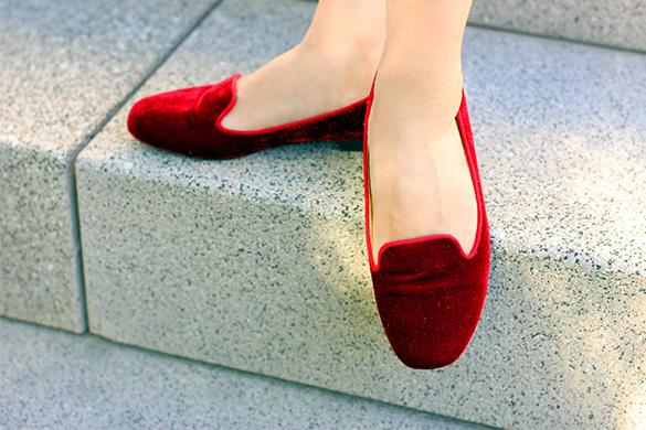 Zara Red Velvet Flats