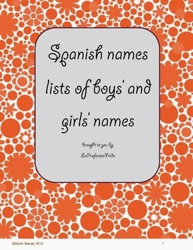 http://www.teacherspayteachers.com/Product/FREE-Spanish-Names-list-of-boys-and-girls-nombres-928278