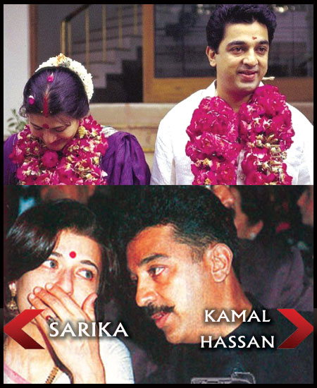 Sarika was also involved with a married man - Kamal Hassan, and got pregnant ...