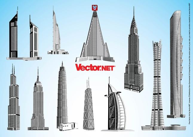 65 Free Skyscrapers Towers Vector Art Graphics