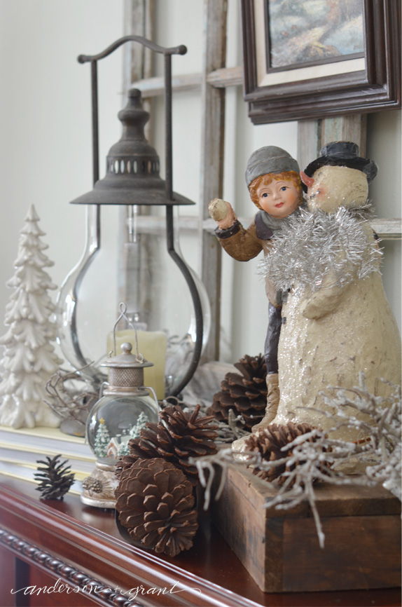 A few winter decorations on the fireplace mantel makes your home warm and cozy for the season!  |  anderson + grant