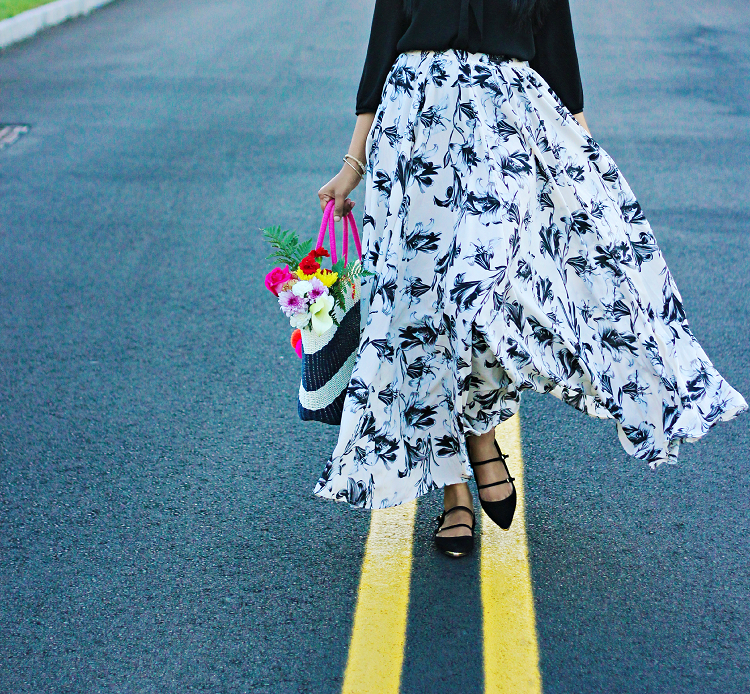 Floral  Maxi, Mix Nouveau Maxi Skirts, Zara mutlistrap flats, full maxi skirt styling ideas