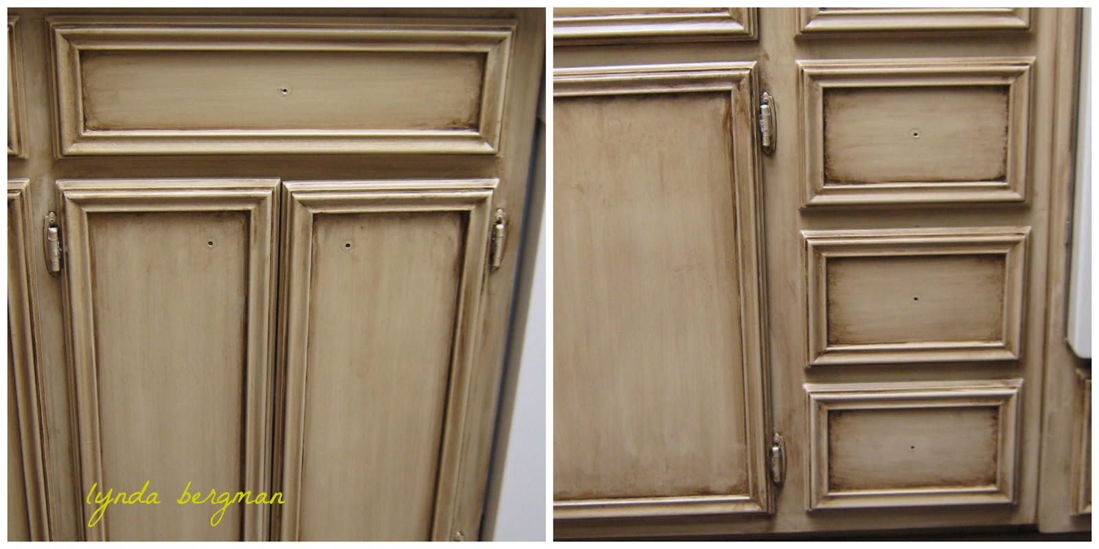 Lynda Bergman Decorative Artisan Painting A Special Aging Antiquing Finish On Old Kitchen Cabinets