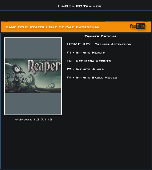 Reaper Tale Of Pale Swordsman v1.3.7.113 Steam Trainer +4 [LinGon]