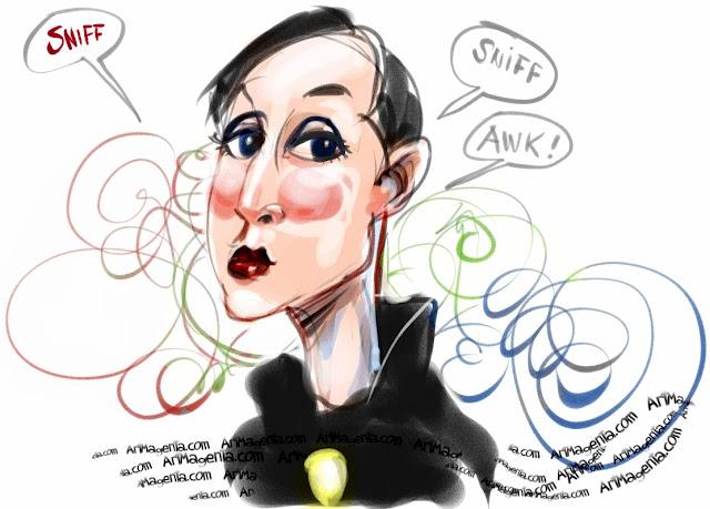 Doodle with a parfume saleswoman