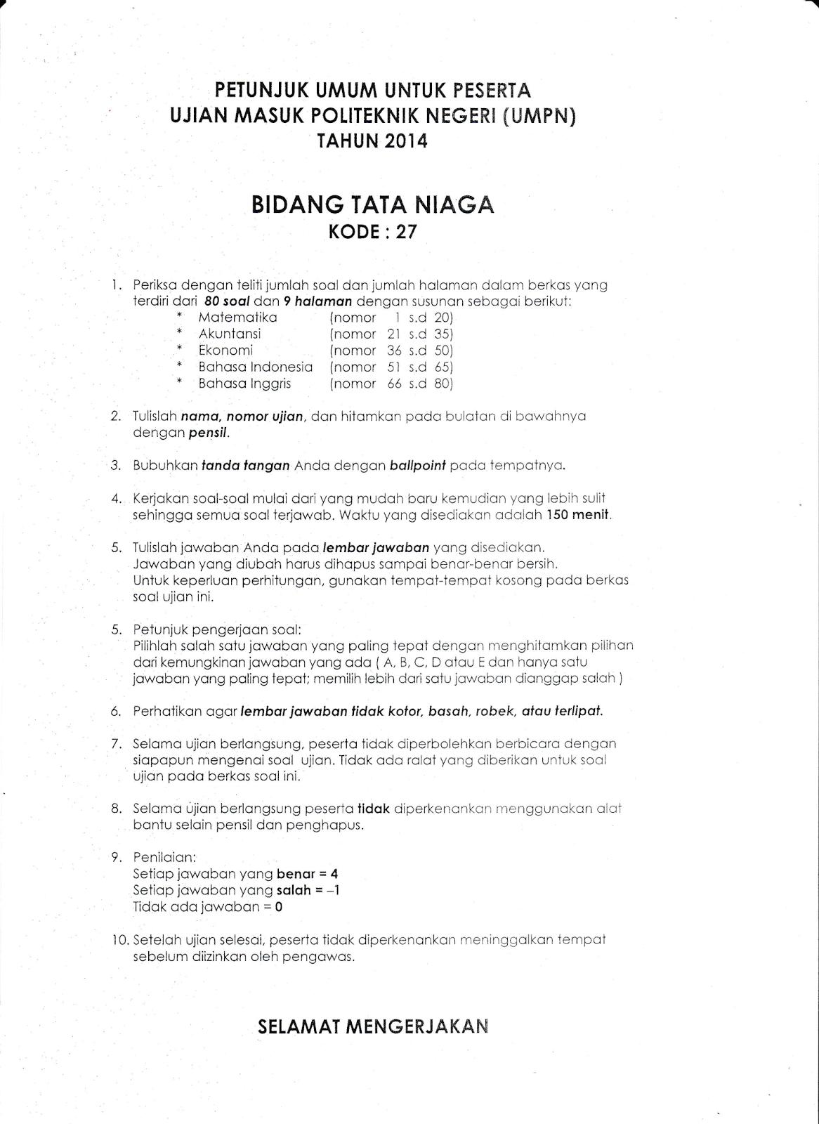 My Way Naskah Soal Umpn 2014 Bidang Tata Niaga