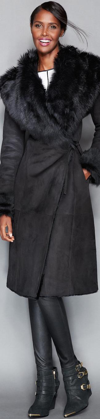 The Fur Vault Toscana Shearling  Wrap Coat