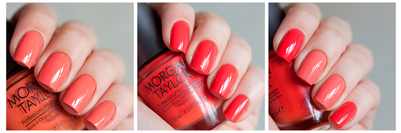 Morgan Taylor nail lacquer swatches and review: Sweet Escape & Candy Coated Coral