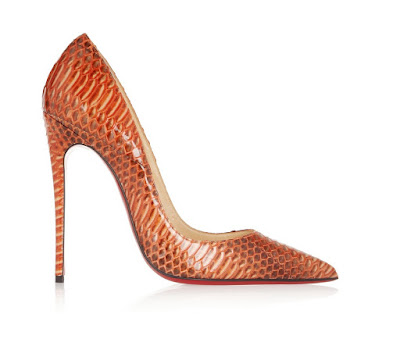 Christian Louboutin So Kate Pumps in orange water snake