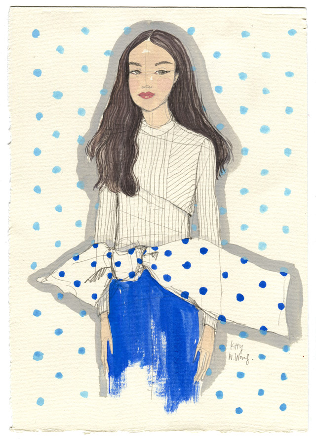 Kitty N. Wong / Blue Moon Polka Dot Fashion Illustration
