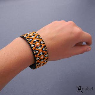купить браслет из бисера оранжевый черный украина россия