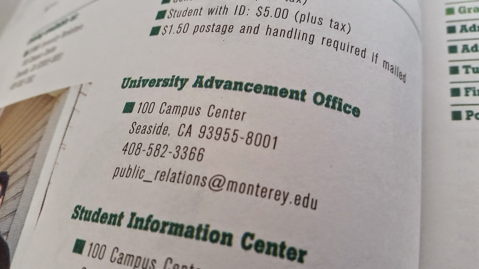 Page from 1997-1998 catalog showing the 100 Campus Center address.
