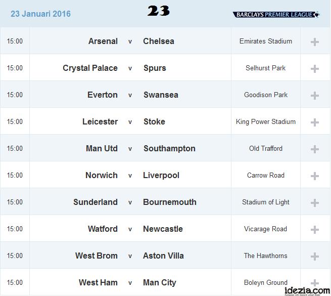 Jadwal Liga Inggris Pekan ke-23 23 Januari 2016