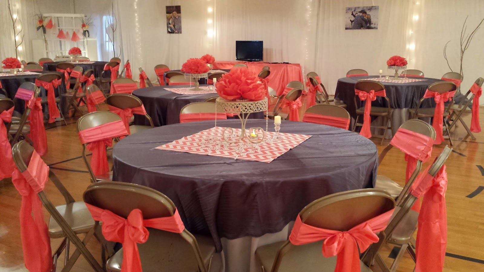 Uweddings Coral And Grey Vintage Wedding Reception