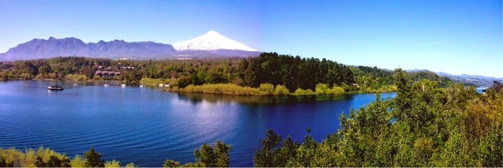 Pemandangan indah di Chili. danau sekitar Gunung Villarica