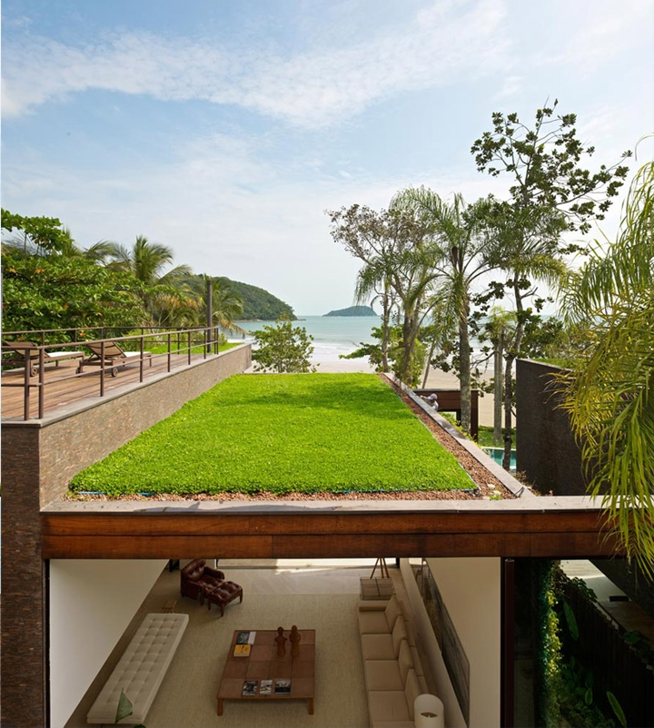 Green roof on Modern beach house in Brazil