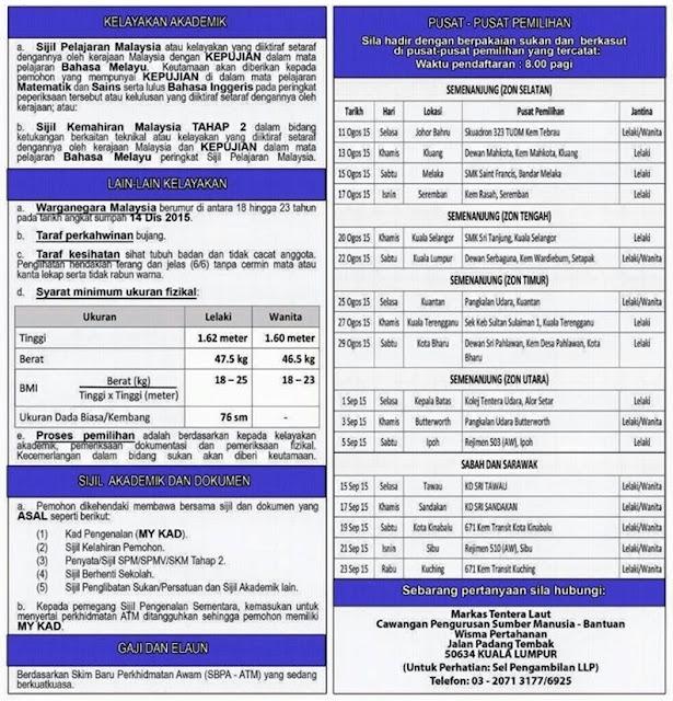 Temuduga Terbuka Pemilihan Laskar Muda TLDM - 11 Ogos - 23 Sep 2015