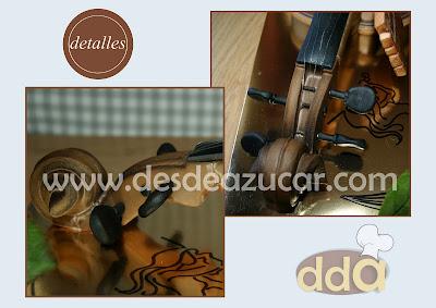 tarta fondant, tarta, tarta violin, mafalda, MSC, tarta fondant Sevilla