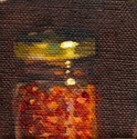 Oil painting of a glass jar containing chillies, topped with a brass-coloured lid.