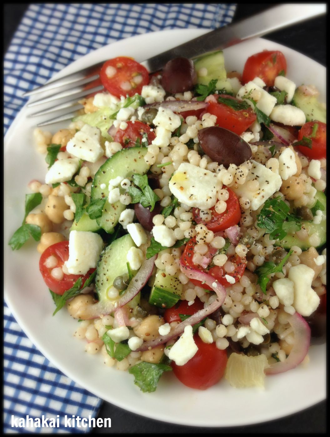 ... with a Greek(ish) Pearl Couscous Salad with Lemon-Caper Dressing