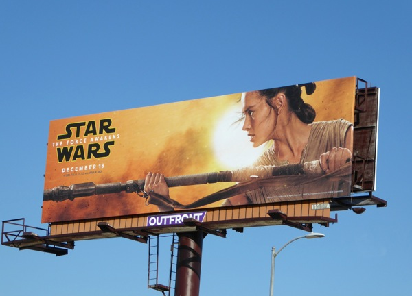 Rey Star Wars Force Awakens billboard