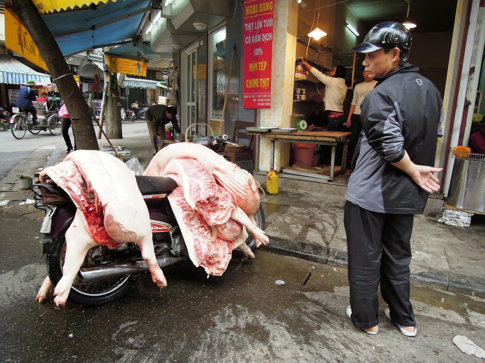 Hanoi, butcher, hogs