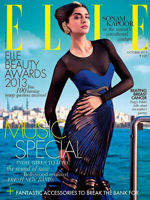 Sonam Kapoor in the Season's Sensational Couture on Elle Cover page