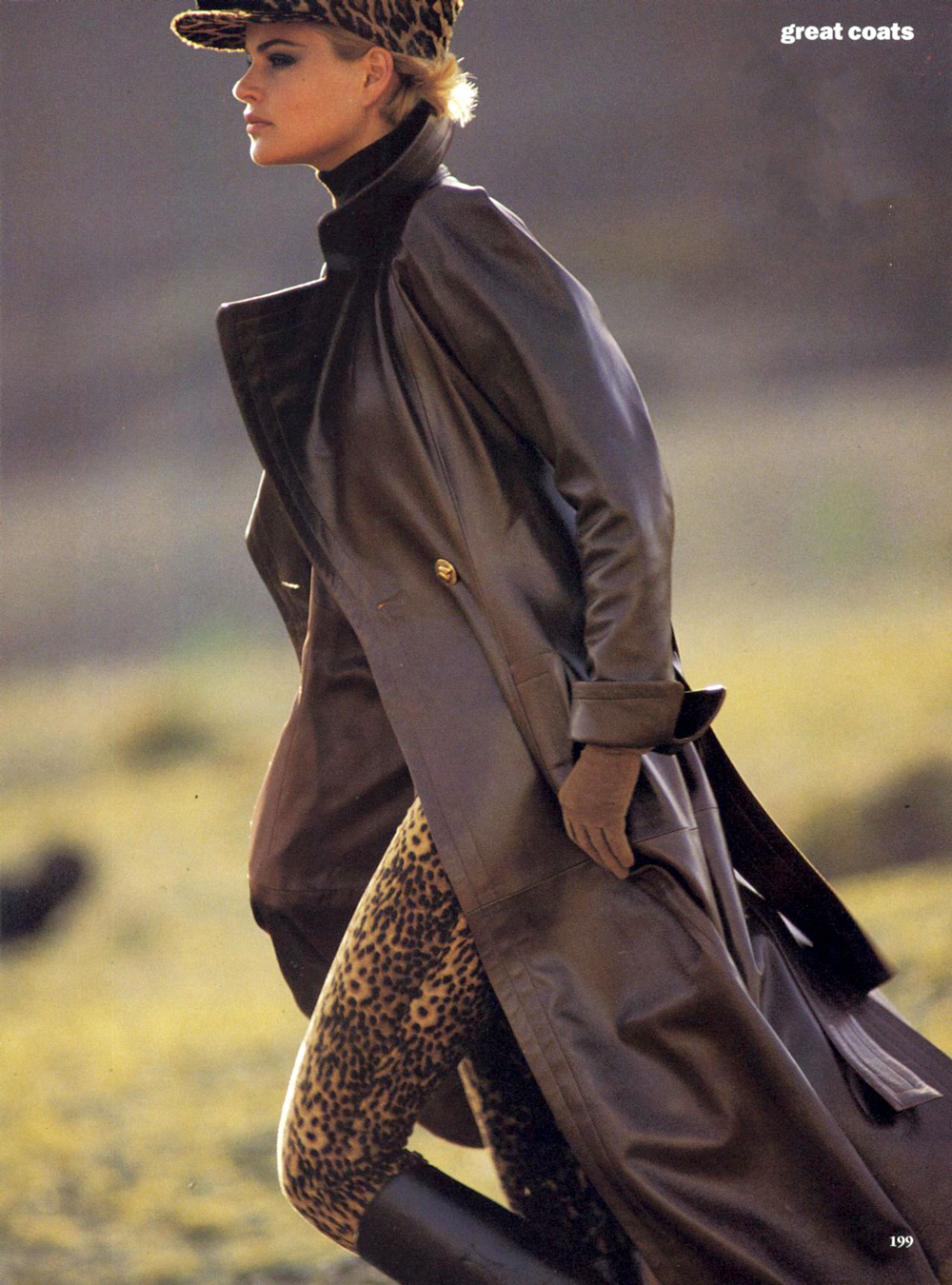 Yves Saint Laurent trench in Vogue US August 1992 via www.fashionedbylove.co.uk