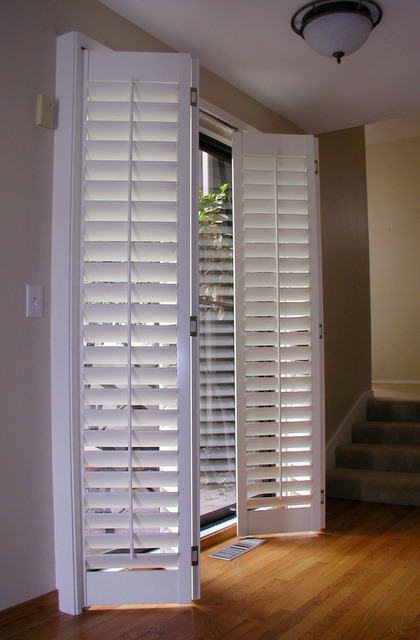 Sliding Door Coverings : Stanfield shutter co accordion plantation shutters fold