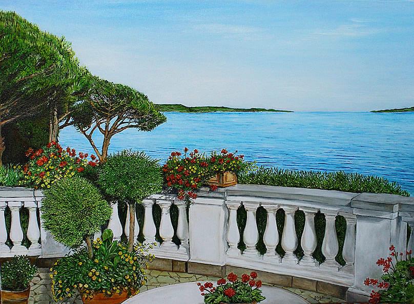 Terrazzo fiorito sul mare | I dipinti di Grazia Calabrò