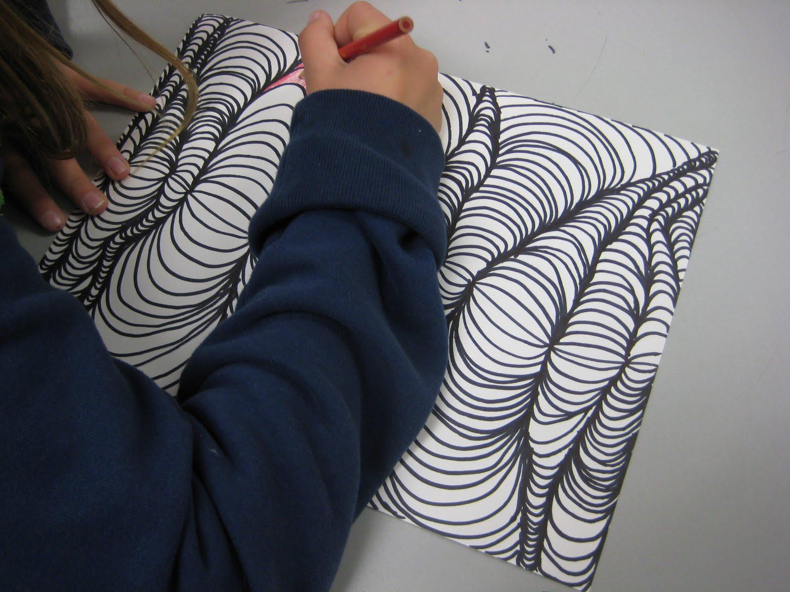3d Line Drawings : Line designs with shading u teachkidsart