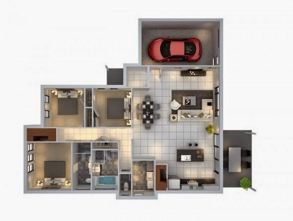 Minimalist 3 Bedroom Home Design Layout With Car Garage | Homesigner