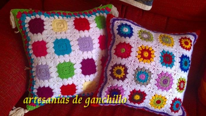 Artesanias de ganchillo azu bar n cojines almohadon ganchillo - Cojines de lana ...