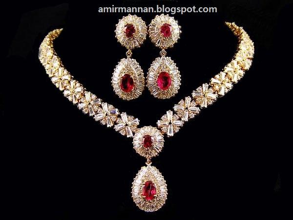 fashion red zircon bridal jewellery collection fashion jewellery