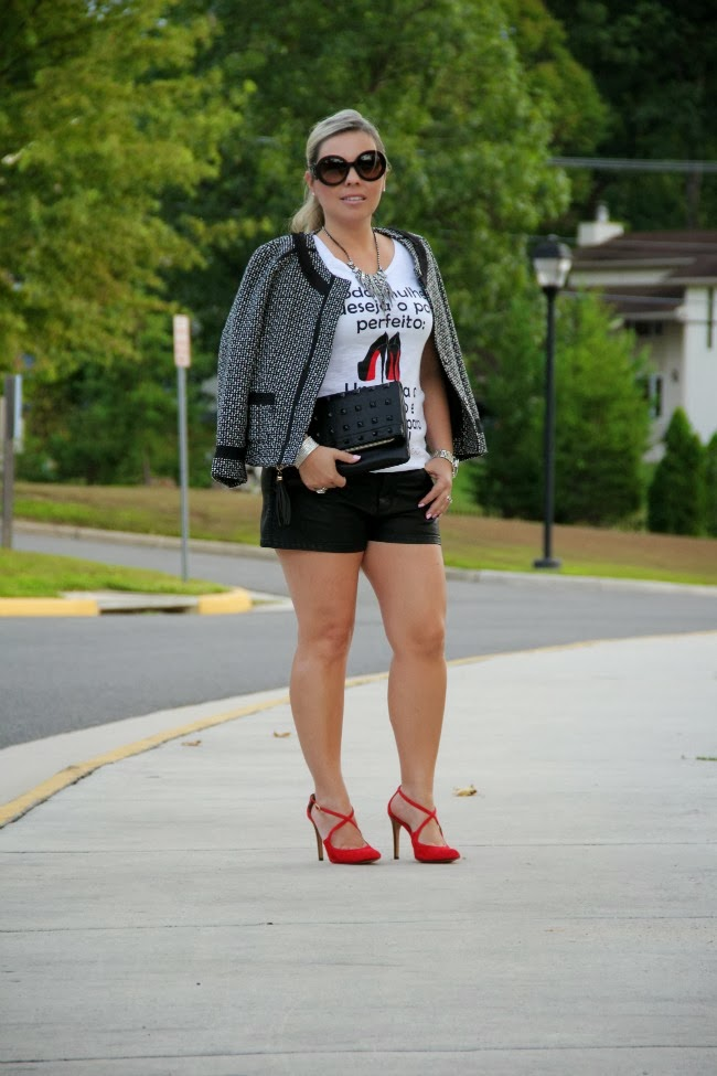 Black Faux Leather Shorts - Forever 21, T-Shirt c/o Calupa T-Shirts, Tweed Jacket and Black Clutch - TJ Maxx, Karenza Red Pumps c/o Sole Society, Prada Baroque Round via Nordstrom, Mid-Size Silver Color Golden Stainless Steel Camille Chronograph - Michael Kors, Silver and Black Onyx Ring - David Yurman