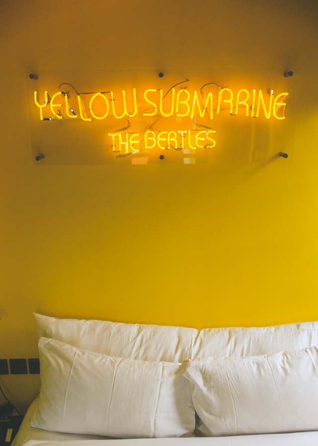 did you know that there's a hotel in Singapore where each room is color coded according to a song? we stayed in The Beatles' Yellow Submarine - so bright and cheerful!
